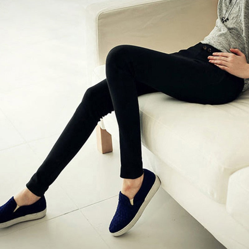 CTRLCITY 2018 Winter Warm Women Pants Mid Elastic Waist Skinny Pencil pants Women Fashion Fleece Office Lady pants-geekbuyig