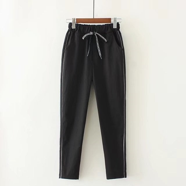 Casual Elastic Waisted Side Stripe Pant Women Loose Cotton Ankle Length Pants Autumn 2017 New Harem Pants For Woman Trousers-geekbuyig