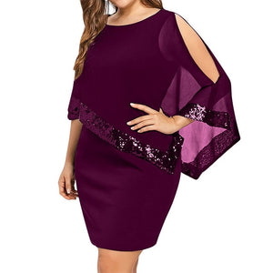 Oversized Women Dress Mesh Sequined Patchwork Irregular Cloak Sleeve Mini Dress Women Solid Casual Party Dresses Plus Size 5XL-geekbuyig