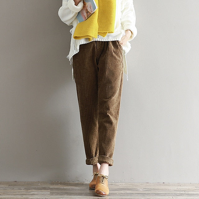Autumn Winter Vintage Women Corduroy Pants Casual Loose Solid Color Trousers Thicken Warm Elastic Waist Pleated Pants Trouser-geekbuyig