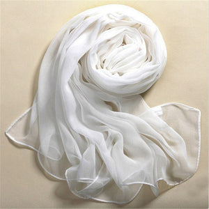 Summer Beach Style 100% Silk Pure White Soft Thin Oblong Scarf Shawl 2018 Best Gifts 1PCS High Quality Free Shipping May 29-geekbuyig