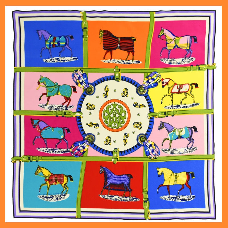 100% Silk Scarf Women Scarf Horse Scarf 2016 Foulard NeckerChief Animal Silk Bandana Small Square Silk Scarf Office Lady Gift-geekbuyig