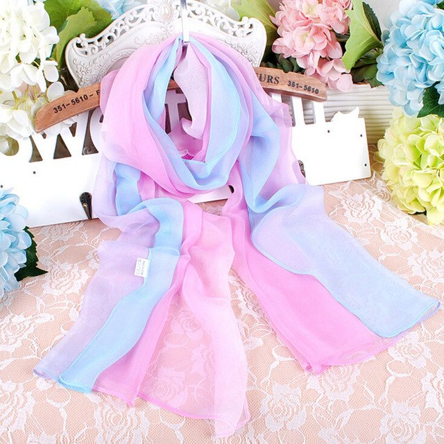 Scarves scarf Shawl ladies Long scarfs Gradient Color Printed women Chiffon Silk shawls and wraps mujer Neck scarves stoles FB6A-geekbuyig