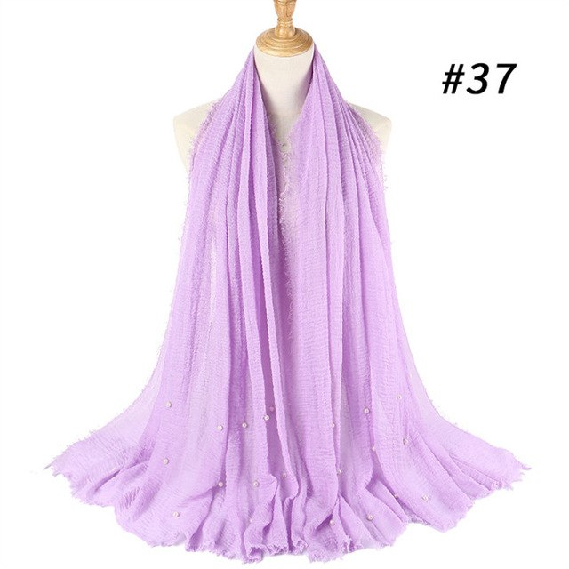 Ladies Fashion Bubble Cotton Beads Wrinkle Scarf Shawl Plain Crumple Pearl Wrap Foulard Pashmina Muslim Headband Hijab 190*100Cm-geekbuyig