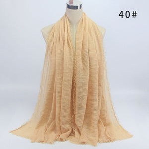 Bubble plain scarf cotton scarf fringes women soft solid hijab popular muffler shawls big wrap hijab scarves 40 colors-geekbuyig
