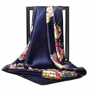 Fashion Women Scarf Luxury Brand Blue Flower Chain Print Hijab Silk Satin Shawl Scarf Foulard Square Head Scarves Wraps 90x90cm-geekbuyig