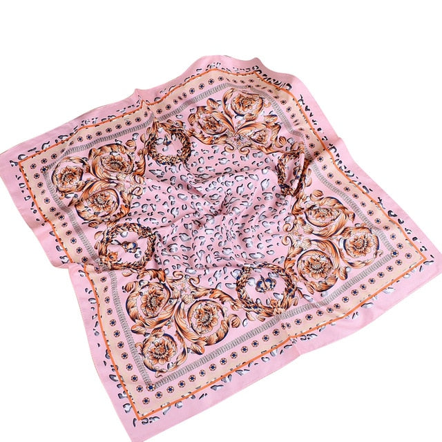 70x70cm Fashion Women Square Scarf Floral Print Wrap Head Shawl Birthday Gift-geekbuyig