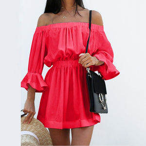 2018 Summer Women Sexy Off Shoulder Dress Slash Neck Backless Flare Sleeves Solid Color Cotton Dress-geekbuyig
