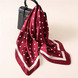 2017 NEW Fashion Luxury Brand Dots Print Pure Square Silk Scarf Shawl Foulard Square Head Scarves Wraps-geekbuyig