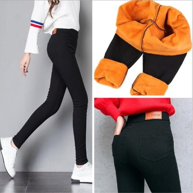 WKOUD Winter Pants Women Thick Warm Fitness Leggings Gold Fleeces Footless Leggings Female Skinny Black Legging Trousers P8496-geekbuyig