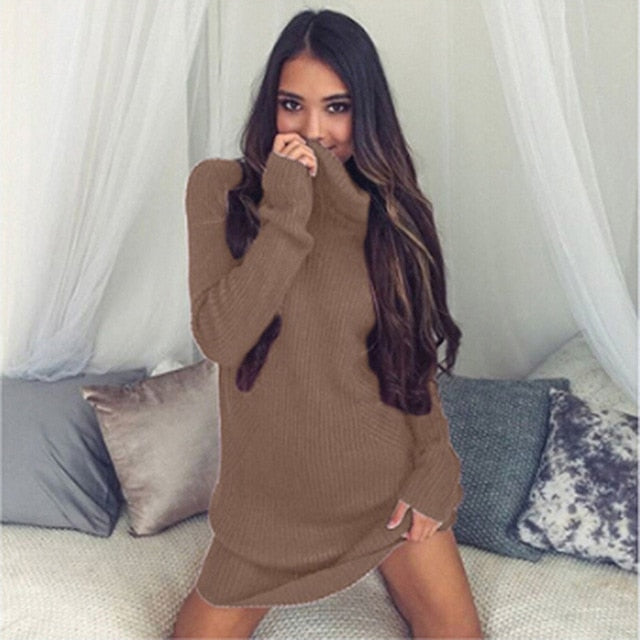 Autumn Winter Casual Women Knitted O-Neck Full Regular Sexy A-Line Solid Sweater Mini Dresses Bodycon Casual Dress HO956806-geekbuyig