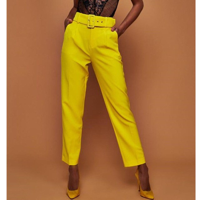 Elegant Women High Waist OL Career Pants Ladies Long Loose Casual Pencil Trousers With Belt Fashion Elastic Drawstring Trousers-geekbuyig
