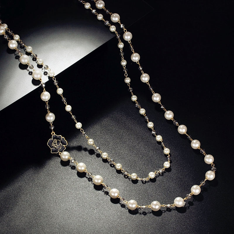 Fashion Long Double Layers simulated Pearl Chain Gray Crystals Black Rose Charm Pendant Necklace Women Jewelry Statement Gift-geekbuyig
