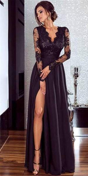 Women Lace Evening Party Prom Gown Ladies Formal Empire Waist Long Dress Solid V-Neck Long Sleeve Floor-Length Maxi Dresses-geekbuyig