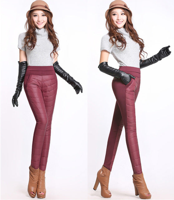 2018 Fashion Winter Women Pants Stitching Slim Warm Windproof Down Pants Thick Velvet Trousers Pants High Waist Plus Size-geekbuyig
