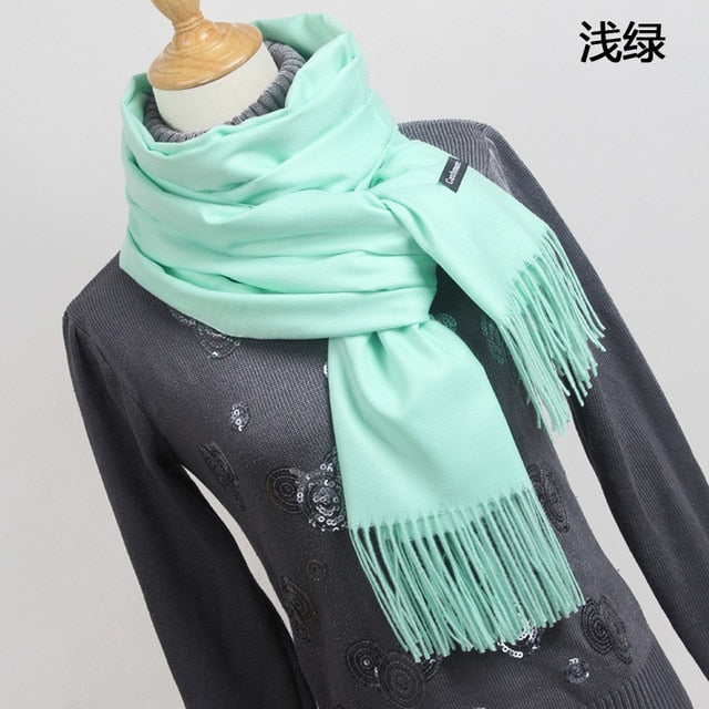 Women solid color cashmere scarves with tassel lady winter thick warm scarf high quality female shawl hot sale YR001-geekbuyig