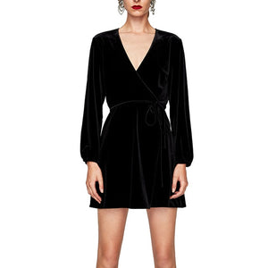Elegant V-Neck Wrap Dress Women Winter Long Sleeve Velvet Dress Femme 2017 Short Party Dresses Robe Hiver-geekbuyig