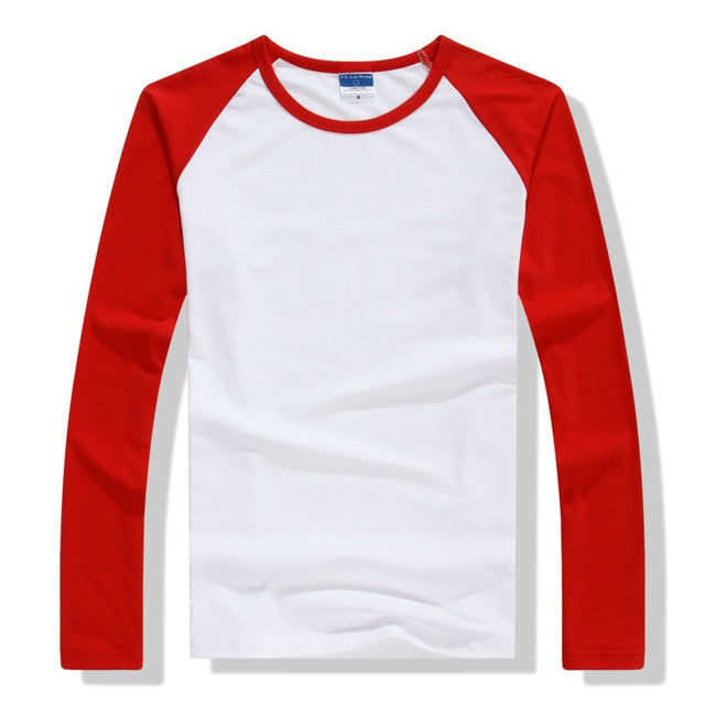 2018 Autumn Winter Long Sleeve T Shirt Men Contrast Color Round Collar Cotton Mens Casual Slim Fit Raglan T-Shirts Tees Tops-geekbuyig