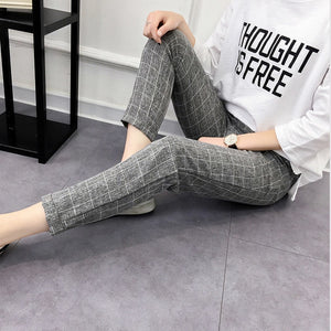 Women's Plaid Pants Elastic Bow Tie Drawstring Casual Loose Pockets Trousers 2018 Hot Sell Autumn Fashion Harem Pants Plus Size-geekbuyig