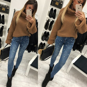 OMCHION 2018 Spring Summer Pearl Beading Ripped Jeans Women High Waist Denim Black Pants Women Hips Up Skinny Jeans DNX28-geekbuyig