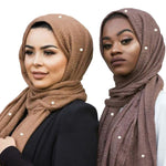 New Arrival Premium Viscose Maxi Crinkle Cloud Hijab Scarf Or With Pearls Shawl Soft Islam Muslim Wholesale & Retail Scarves-geekbuyig