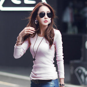 NEW women t-shirts long sleeve female cotton t shirt 2018 spring autumn winter Keep warm tops tees plus size O-neck undershirts-geekbuyig