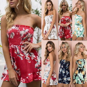 Summer Womens BOHO Sundress Romper Tops Ladies Floral Off Shoulder Bodycon Jumpsuit Playsuit Beach Holiday Short Trousers Romper-geekbuyig