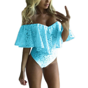 Ruffles Lace Bodysuit Summer Jumpsuits Rompers Off Shoulder Slash Neck Body Top Beach Overalls Female Sexy Women Bodysuits-geekbuyig