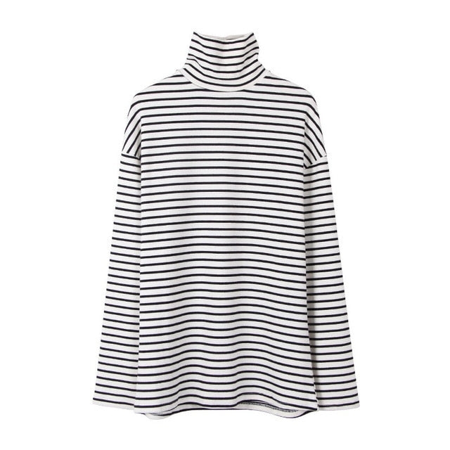 2018 New Black White Striped Long Sleeve T Shirts Women Loose T-shirt Womens Female Fashion Korean Style School Students Females-geekbuyig