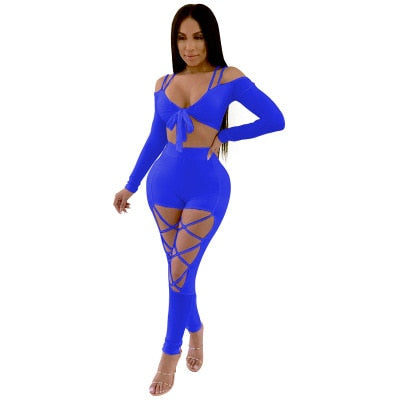 Sexy Two Pieces Set Jumpsuits Womens Rompers Spaghetti Straps V-neck Bandage Bodysuits Clubwear Hollow Out Body Feminino-geekbuyig