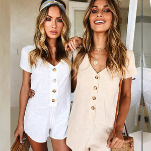 Women Rompers Solid Button Jumpsuit Summer Short Overalls Jumpsuit Female Bodysuit Chest Wrapped Short Sleeves Playsuit F1-geekbuyig