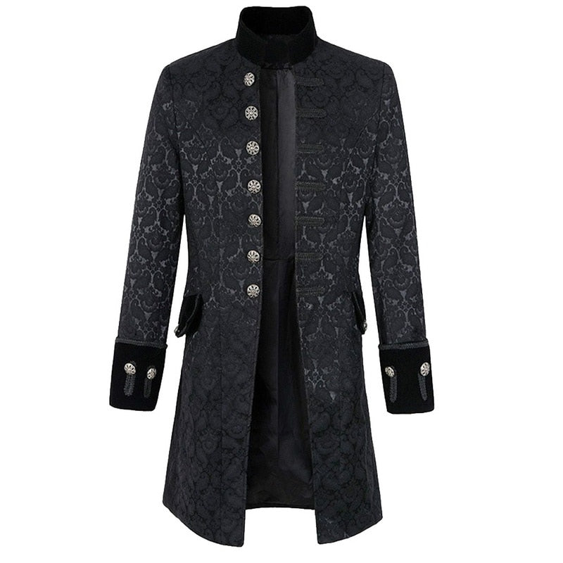 HEFLASHOR Men Steampunk Brocade Jacket Top Male Vintage Long Sleeve Jacket Gothic Steampunk Vintage Victorian Coat-geekbuyig