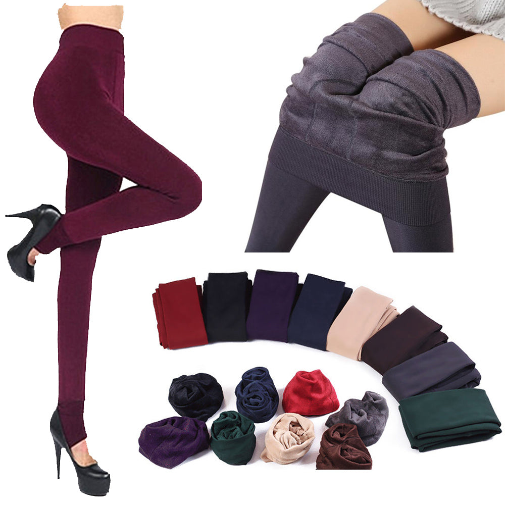 1 Pair Winter Fashion New Women's Solid Thick Elastic Hosiery Warm Fleece Lined Thermal Stretchy Trousers Leggings Pants-geekbuyig