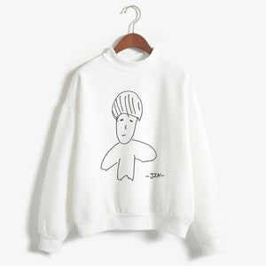 CDJLFH Autumn Women Long Sleeve Swearshirt BTS Autograph Letter Print White Keep Warm Top Shirt Winter Pullovers Streetwear-geekbuyig