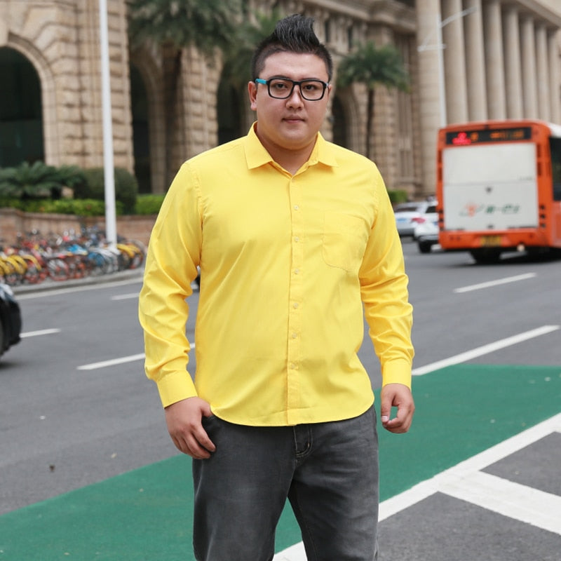 Plus Size 5XL 6XL 7XL 8XL Social Business Easy-care Dress Men Shirt Casual Soft Comfortable Pure Color Yellow Purple Red-geekbuyig