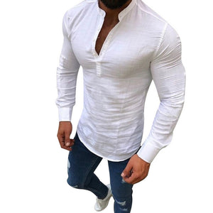 LAAMEI 2018 Sexy New Men Long Sleeves Blouse Summer Fashion Casual Cool Clothing Slim Fit Tees Tops Male Breathable Linen Shirts-geekbuyig