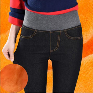 WKOUD High Waist Jeans Femme Gold Fleeces Warm Denim Pants Skinny Winter Thick Trousers For Women Black Jeans Plus Size P8511-geekbuyig