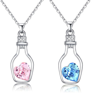 1Pcs Trendy Chains Necklace Popular Style Love Drift Bottles Pendant Necklace Heart Crystal Pendants Colar Fashion Jewelry NB712-geekbuyig