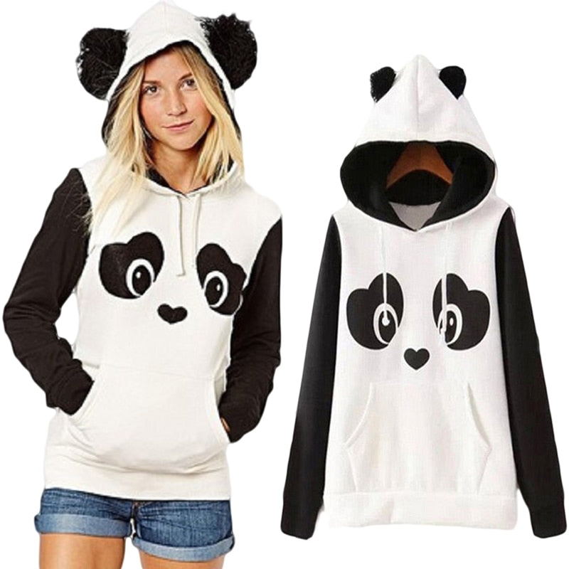 New College Wind Women Hoodies Fashion Cartoon Panda Sweatshirts Casual Printed Mixed Color Harajuku Tracksuits Female Sudaderas-geekbuyig