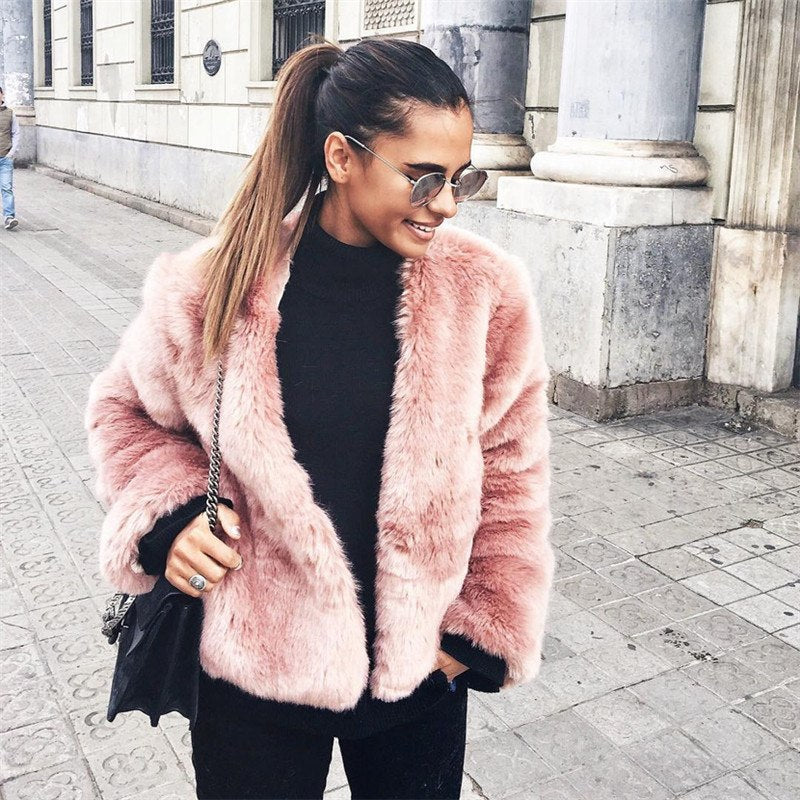 New Luxury Fluffy Rabbit Women Winter Collarless Long Sleeve Covered Button V-neck Fur Jackets Overcoat Short Coat 6Q0204-geekbuyig