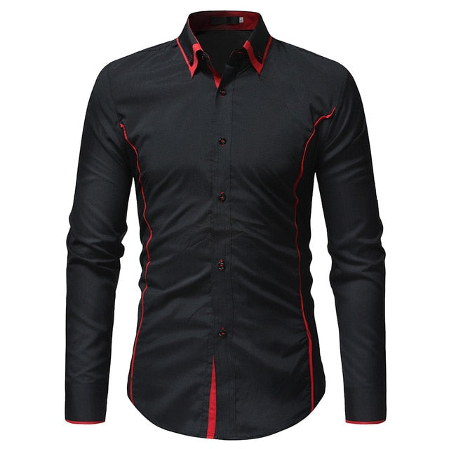 2018 Fashion Brand Camisa Masculina Long Sleeve Shirt Men Korean Slim Double Collar Design Casual Dress Shirt Plus Size Black-geekbuyig