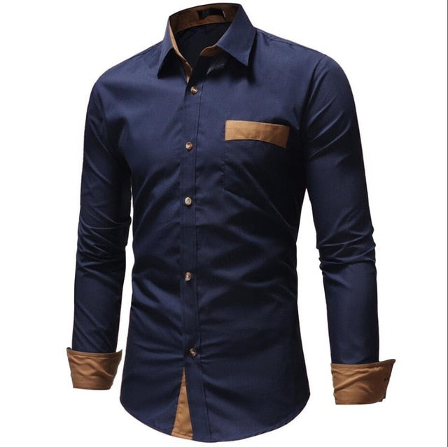 Dropshipping Men Shirts 2018 Brand Casual Slim Long Sleeve Shirt Men Business Social Dress Shirt Plus Size Cotton Top Clothes-geekbuyig