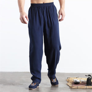 2018 Brand New Summer Linen Casual Pants Men Solid Thin Breathable Joggers Sweatpants Flax Cotton Big Size M-6XL-geekbuyig