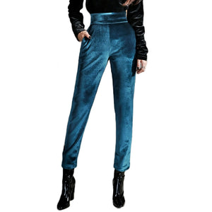 Sexy Club High Waist Velour Women's Pants Fashion Skinny Velvet Pencil Pants Metalic Blue Green female trousers Autumn Spring