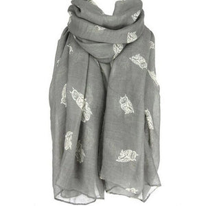 2018 Brand Scarf Woman Owl Printed Sunscreen Scarf Spring And Autumn Women Fashion Silk chiffon Female Cute Scarf bandana p6-geekbuyig