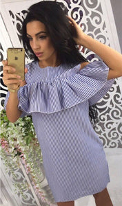 Ladies Ruffles Cold Shoulder Blue Striped Dress Women 2018 Casual O-Neck Short Butterfly Sleeve Straight Mini Summer Dresses-geekbuyig