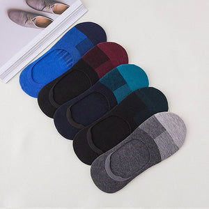 5 Pairs Mens Socks Business Invisible Enlarge Code Male Socks Cotton Silica Gel Non-slip Shallow Mouth Ankle Sock Slippers Meias-geekbuyig