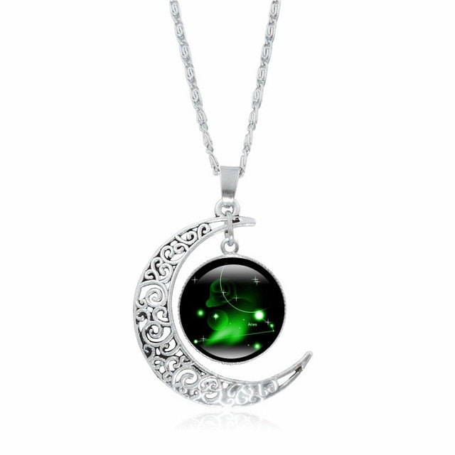 XUSHUI XJ 12 Constellation Glass Cabochon Pendant Necklace Silver Crescent Moon Jewelry Chain Necklace Women girl Family gifts-geekbuyig