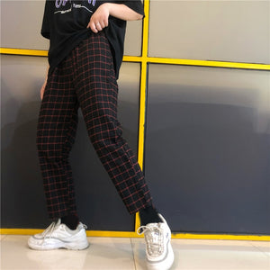 Ladies Streetwear Plaid Stripe Straight Slim Elegant Elastic Waist Pant Korean Sweet Cotton Trouser Summer Sweatpant Fashion-geekbuyig