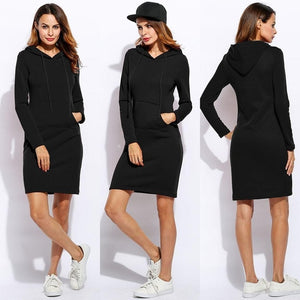 Vestidos Women Fleeces Fashion Hooded Full Drawstring Dress Sweatshirt Size Dress 2018 Dresses Plus Hoodies Sleeves Winter Women-geekbuyig